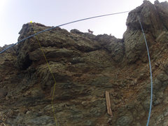 Rock Climbing Photo: Route is left of photo center. Up the stepped outs...