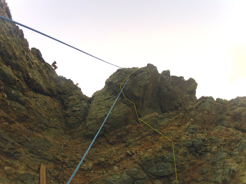 Rock Climbing Photo: This is a route beta of one possible Dog Nose rout...