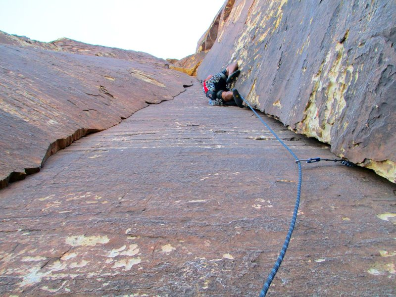 The second pitch has no dull moments. I love this climb!