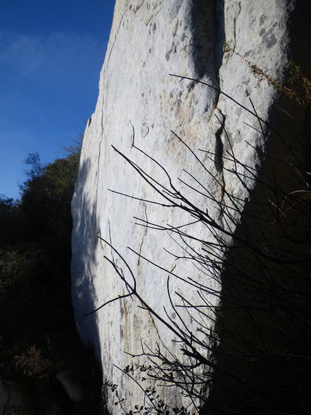Rock Climbing Photo: looking down the wall, the arete climb as the far ...