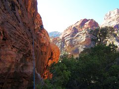 Rock Climbing Photo: The start of the long 5.3/5.4 traverse on P-1 of C...