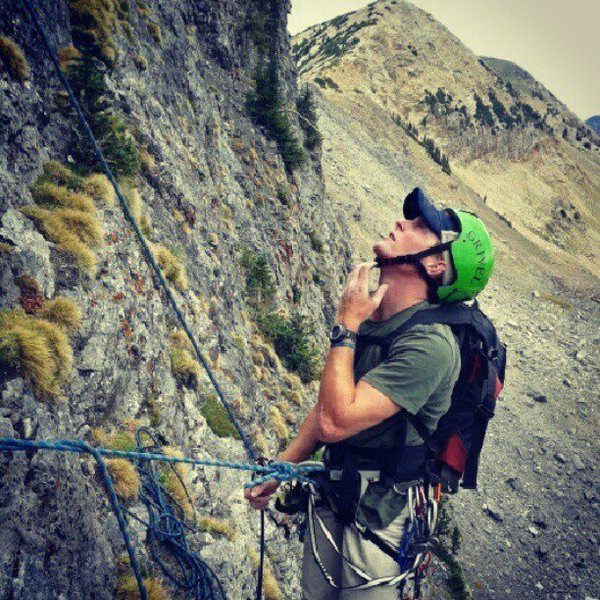 Rock Climbing Photo: top of the second pitch of black streak