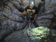 Rock Climbing Photo: rapping off first bolt