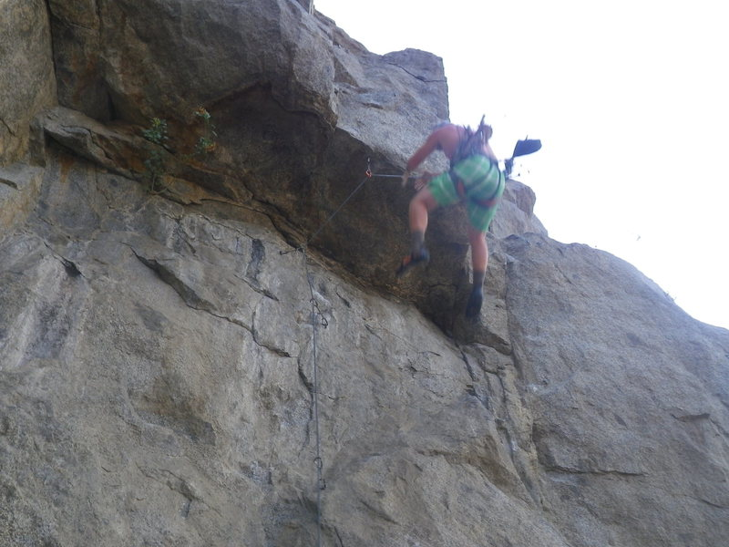 me falling from above the bolt on top of the roof of Union Man 11a riverside quarry