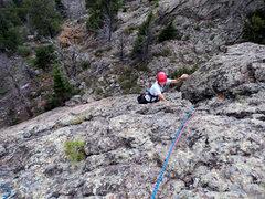 Rock Climbing Photo: Deb moves onto the finish.