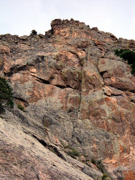 A dihedral on the west face, to the left of SSE Ridge.  This sounds like it is not the 5.9 crack that Bernard Gillett climbed and mentioned on p. 274 of his fine <em>RMNP Estes Park Valley</em> guidebook.