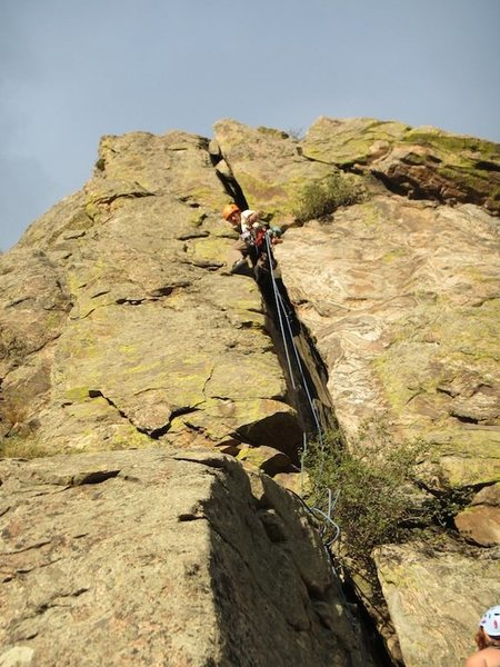 Me halfway up, trailing a second rope....