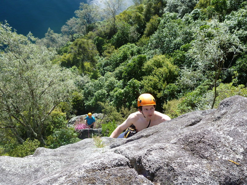 Leading the second pitch. Great fun in the sun