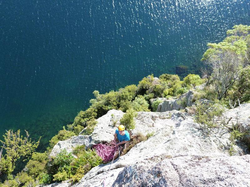 Rock Climbing Photo: Pitch 3 belay ledge, Sidewinder