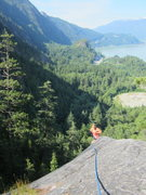 Rock Climbing Photo: Topping out on Slot Machine, great views looking s...