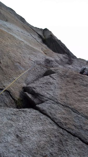 Rock Climbing Photo: On the ledge after the opening crux of pitch 4.