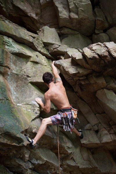 Rock Climbing Photo: Clipping stance for bolt numero uno! Not too hard ...