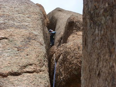 Rock Climbing Photo: About halfway up and definitely using chimney tech...