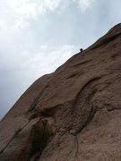 Rock Climbing Photo: The climb goes up the black streak, off the big bo...