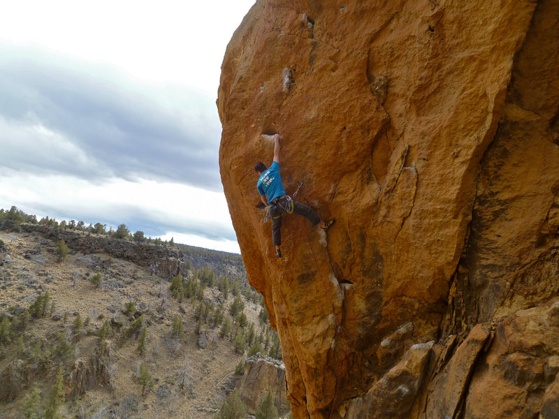 Nailing the crux move.