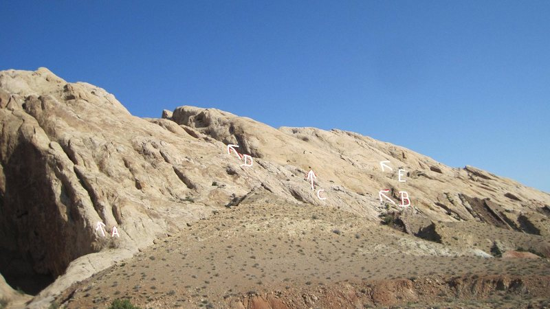 Rock Climbing Photo: A Crag. Little Spotted Wolf Canyon left. A.Finish ...