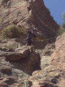 Rock Climbing Photo: Didj atop 1st pitch of Free to Choose