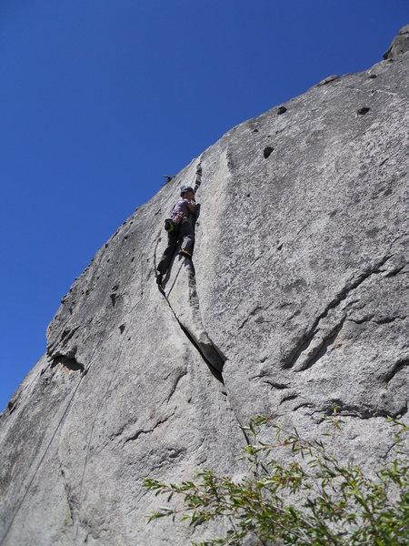 Rock Climbing Photo: Elbow deep in Regular Route.