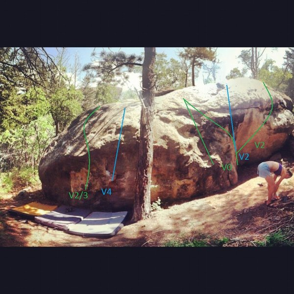 routes on this cool little boulder