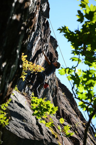 Rock Climbing Photo: Bing on the upper crux of GS-4