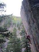 Rock Climbing Photo: Moe Jorgan sending Pabst Trap, way up at the strik...