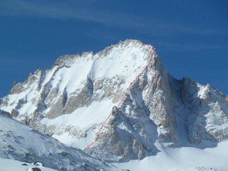 NE ridge of Bear Creek Spire in winter.