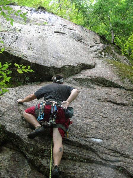 Rock Climbing Photo: Joshua at the first bolt.