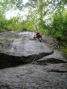 Rock Climbing Photo: Joshua at the crux.