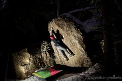 Rock Climbing Photo: Sticking the crux deadpoint on 'Itsy Bitsy Spider'...