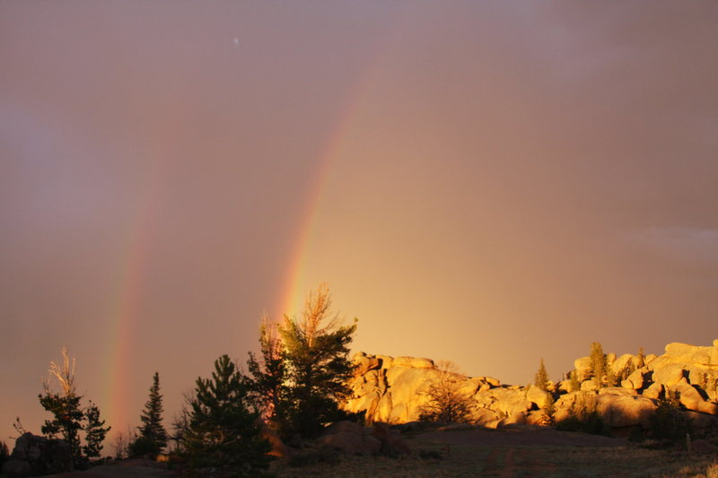 Double rainbows over the Nautilus with alpenglow.