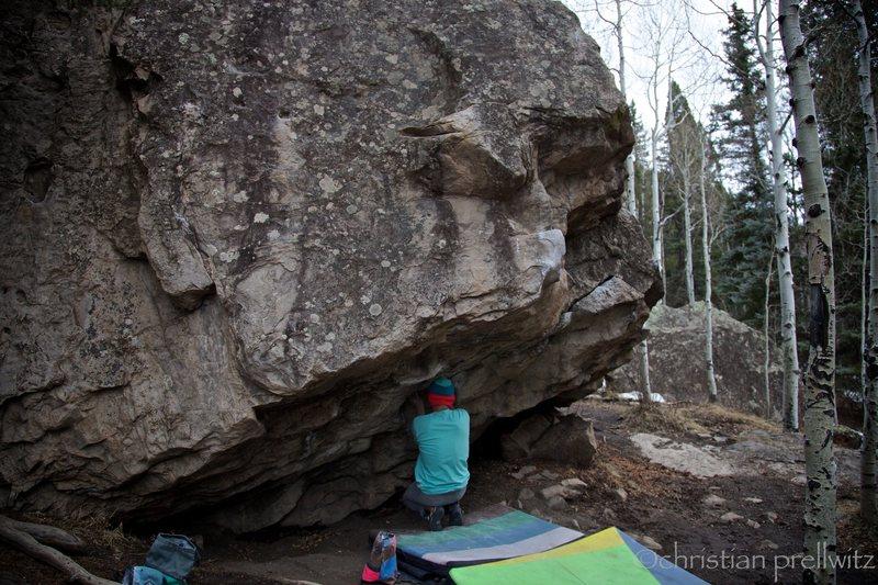 Christian Prellwitz about to start 'Bert's Butt' (V6)- Telluride, Colorado. Photo by Christian Prellwitz.