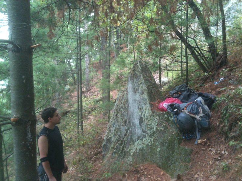 Rock Climbing Photo: the 'triangular' rock at the base of this climb