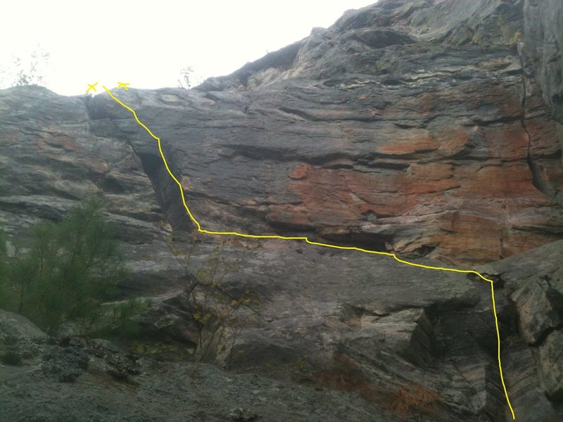 Rock Climbing Photo: climb follows yellow line