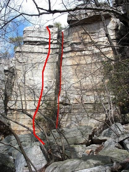 Rock Climbing Photo: Dead Battery is the left line.  Looper is the righ...