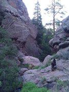 Rock Climbing Photo: Joel Benitez setting up for Middle Elden routes.