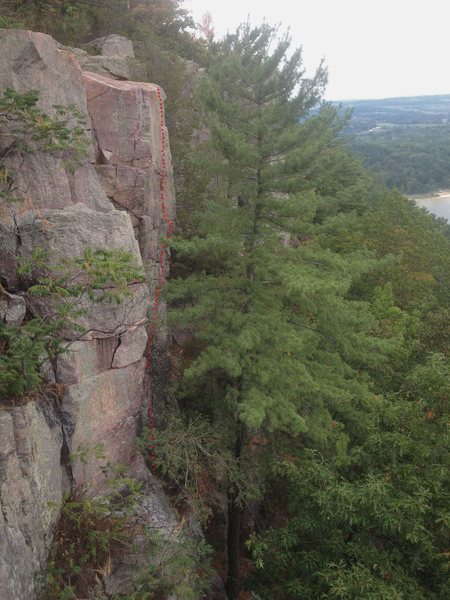 Rock Climbing Photo: View of the route from the top of Grand Illusion.