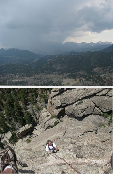 Mark calmly heads up Batman Pinacle while his belayer watches the lightning across the valley.  Common weather condition, same thing happened 2 weeks later with a different partner.  In both cases, we got little or no rain.