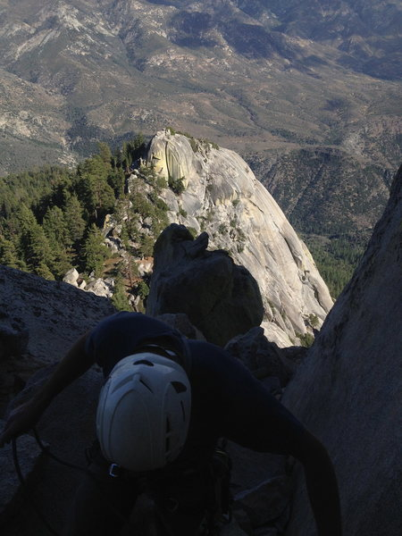 Rock Climbing Photo: View from the notch before the summit pitch