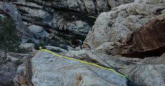 Rock Climbing Photo: I came up where the yellow lines are