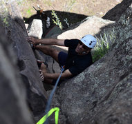 Rock Climbing Photo: Sayfe passing the crux; Bela below him.