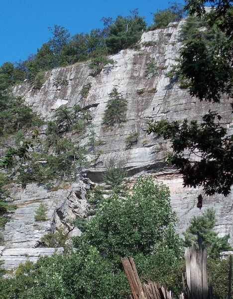 Rock Climbing Photo: The route as seen from the S turn.  Note the &quot...