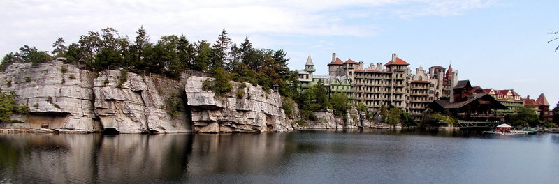 Rock Climbing Photo: Lake Mohonk, the Mountain House, and the cliffs th...