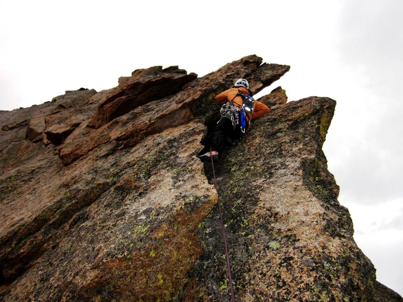 Erik Wellborn on the final pitch (5.6) and wildly exposed. 5-stars!!