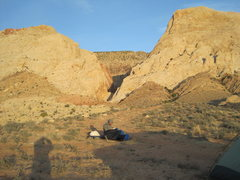 Rock Climbing Photo: Early morning wake up call. Two Finger Canyon.