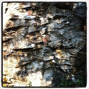Rock Climbing Photo: The start of the climb.  Crux is bolt 2-3.