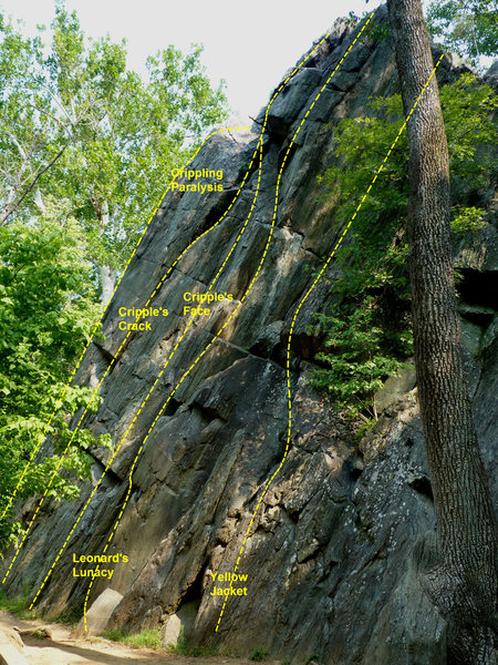 Rock Climbing Photo: Cripple's Face is the middle route in the photo.