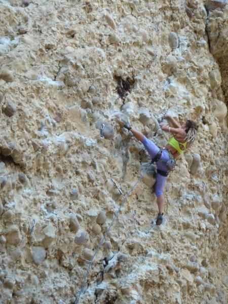 Rock Climbing Photo: Sam moving through the crux.