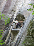 Rock Climbing Photo: clipping the p2 crux piton
