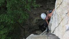 Rock Climbing Photo: N.A. rounding Directissima P1 corner.