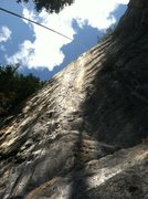Rock Climbing Photo: The hanging rope reveals how steep the climbing is...